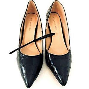 Who What Wear Black Croc Heels Pumps Shoes 9 EUC